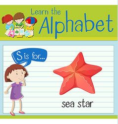 Flashcard letter s is for sea star vector