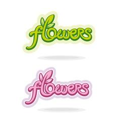 Flowers handwritten word vector image