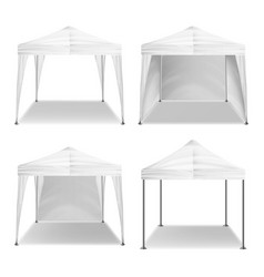 Folding tent outdoor pavilion set vector