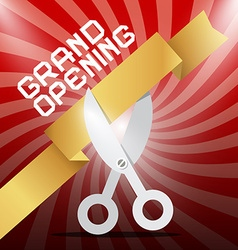 Grand opening silver scissors cutting gold ribbon vector