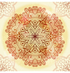 Hand drawn ethnic circular beige ornament vector image