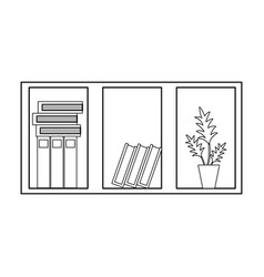 line office wood shelf with books and plant vector image