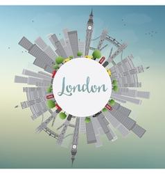 London skyline with gray landmarks and blue sky vector