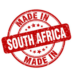 Made in south africa red grunge round stamp vector