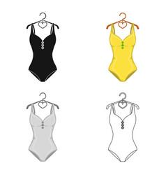 monotone yellow swimsuit for girls bathing vector image vector image