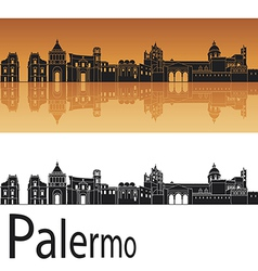 Palermo skyline in orange background vector