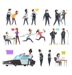 policemen in work cartoon set vector image