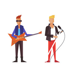 Pop singer flat isolated rock vector