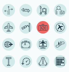 Set of 16 travel icons includes worldwide flight vector