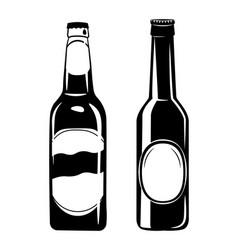 set of beer bottles in ink vector image vector image