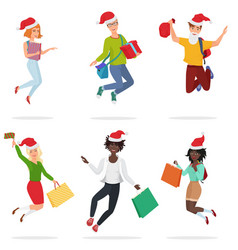set of happy young multi ethic people jumping vector image vector image