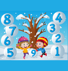Winter background with kids and numbers vector