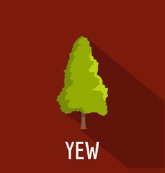 Yew tree icon flat style vector