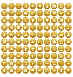 100 dish icons set gold vector