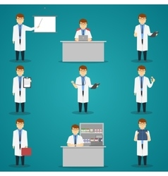 Doctor set of characters vector