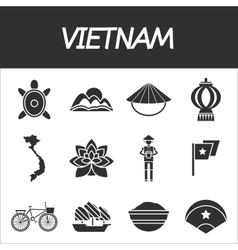 Vietnam icon set vector image