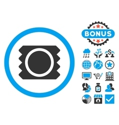 Condom Flat Icon with Bonus vector image