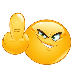 middle finger emoticon vector image