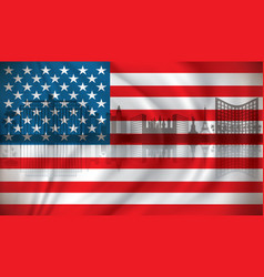 Flag of usa with las vegas skyline vector