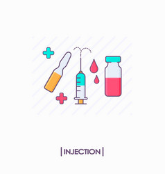 Collection of injection tools syringe and ampoule vector