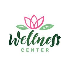 Wellness center logo stroke pink water vector