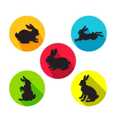 Set of rabbits in different positions vector