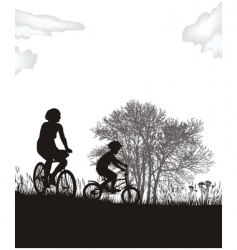 mother and son on bikes vector image