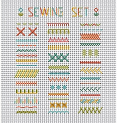 Sewing set on white evenweave textile vector