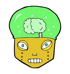 Comic cartoon spooky robot head vector