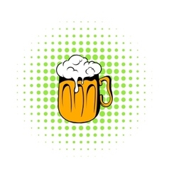 Mug of beer icon comics style vector
