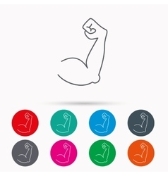 Biceps muscle icon bodybuilder strong arm sign vector
