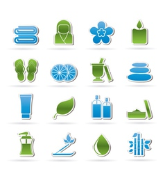 Spa objects icons vector