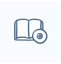Audiobook and cd disc sketch icon vector