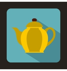 Yellow teapot icon in flat style vector
