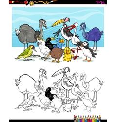 cartoon birds for coloring vector image