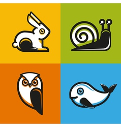 animal emblems and icons in flat style vector image