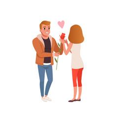 Boyfriend giving rose flower to his girlfriend vector