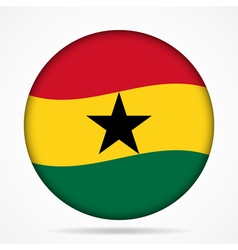 Button with waving flag of ghana vector