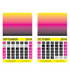 Calendar gridseptember october vector