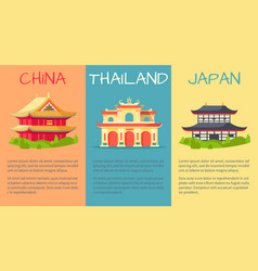 China thailand and japan buildings web banner vector