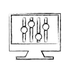 computer with audio control panel icon vector image