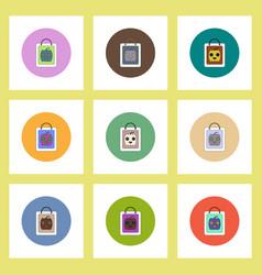 flat icons halloween set of pumpkin on bag concept vector image vector image