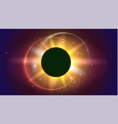 Glow light effect the planet covering the sun vector