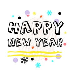 Happy new year greeting black type vector