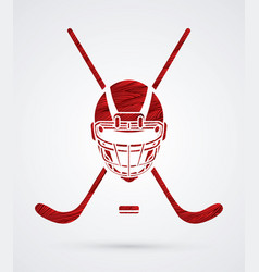 Hockey helmet front view graphic vector