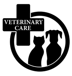 Isolated black icon with veterinary care symbol vector