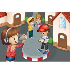 kids on road vector image vector image