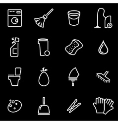 line cleaning icon set vector image vector image