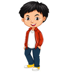 little boy in red shirt and jeans vector image
