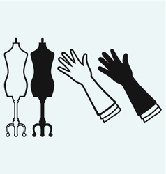 Long glove and tailors mannequin vector
